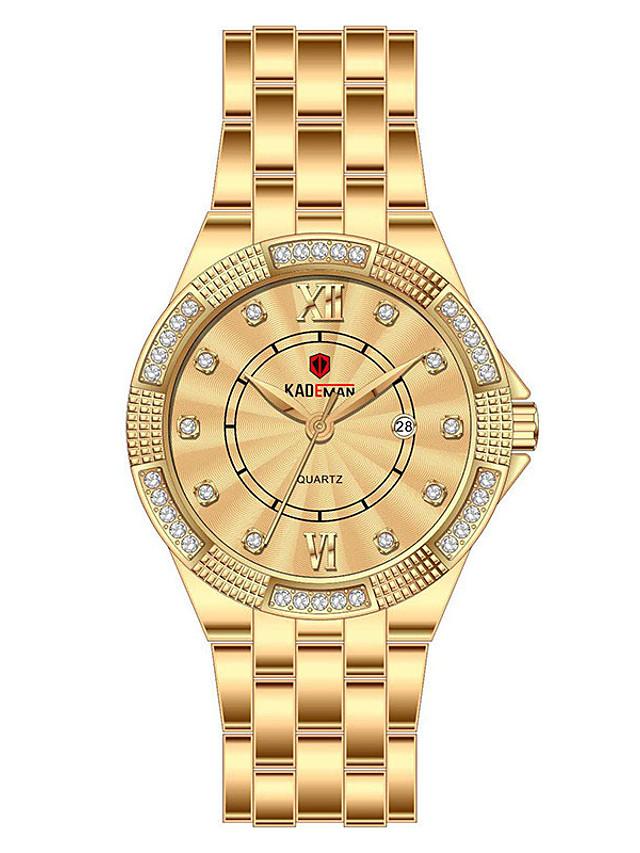 Women's Quartz Watches Quartz Stylish Glitter Elegant Water Resistant / Waterproof Stainless Steel Analog - Rose Gold Golden+Silver Black / Calendar / date / day