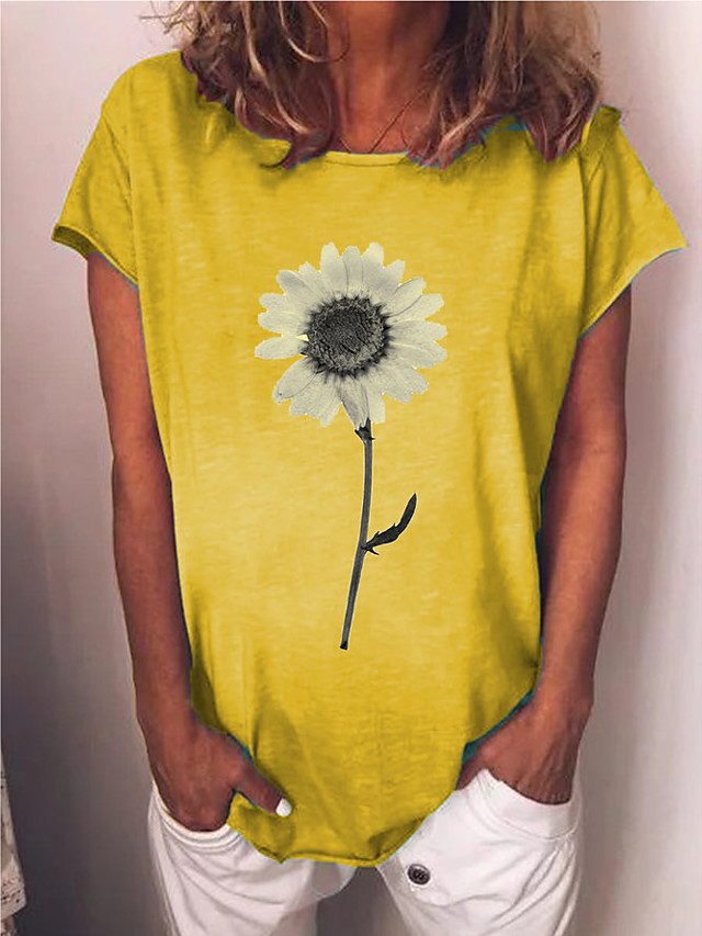 Women's T-shirt Floral Print Round Neck Tops Basic Top Blue Yellow Gray