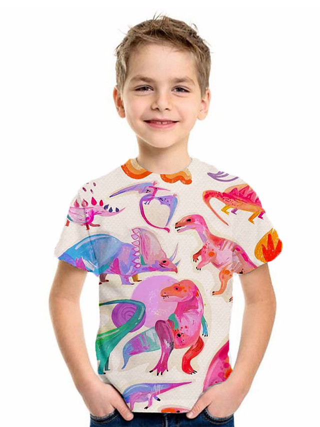 Kids Boys' Basic Fantastic Beasts Animal Print Short Sleeve Tee Blushing Pink