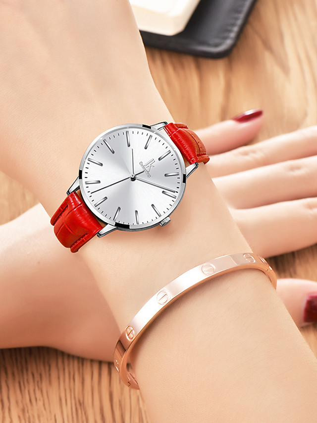 Women's Quartz Watches Quartz Casual Water Resistant / Waterproof Genuine Leather Analog - White+Blue White / Black White+Red