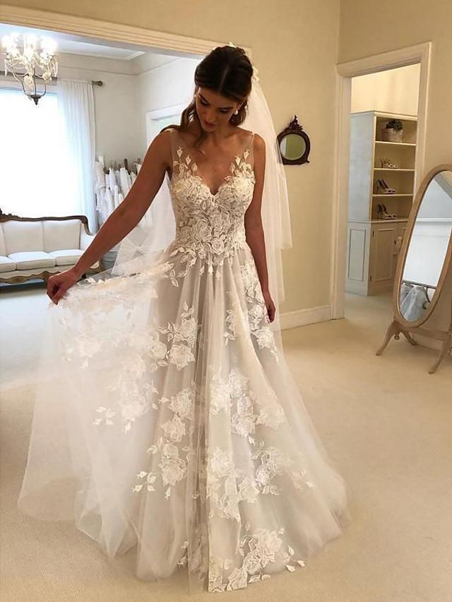 A-Line Beach Wedding Dresses Mesh Lace V Neck Court Train Straps with 2020 Formal Princess Handmade Custom Bridal Dresses 2020