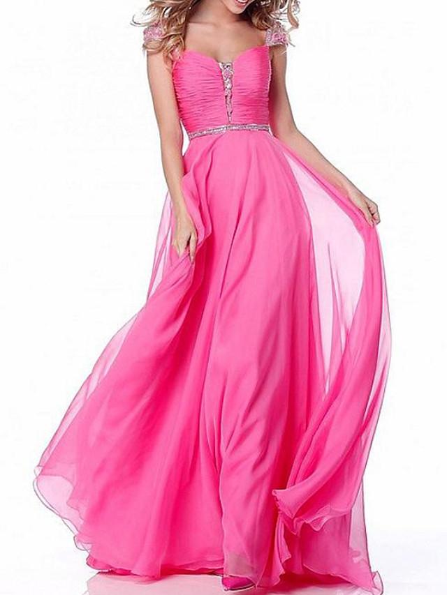 A-Line Elegant Engagement Formal Evening Dress Scoop Neck Sleeveless Floor Length Chiffon with Pleats Sequin 2020