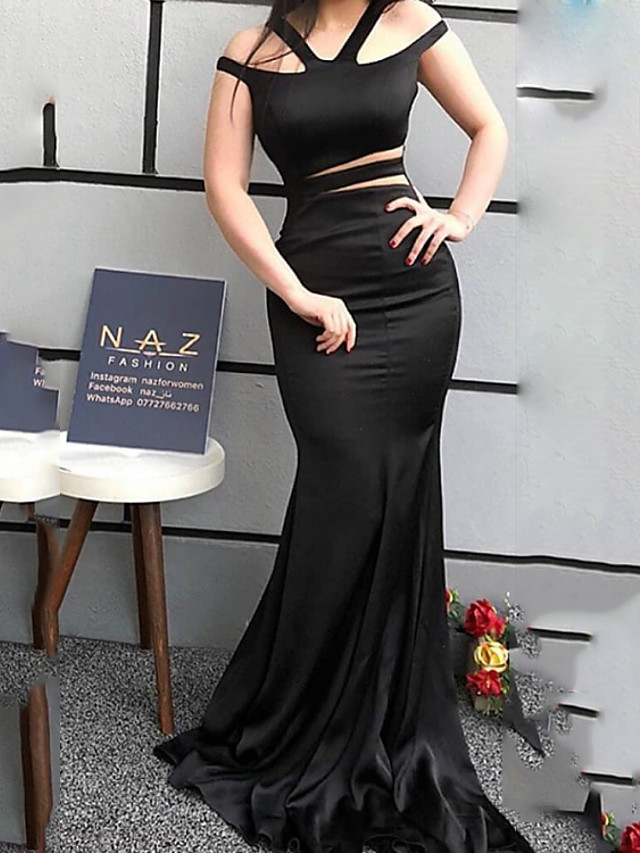 Mermaid / Trumpet Cut Out Sexy Wedding Guest Formal Evening Dress V Neck Sleeveless Sweep / Brush Train Spandex with Sleek 2020
