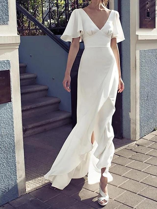 Sheath / Column Maxi Sexy Party Wear Prom Dress V Neck Short Sleeve Floor Length Chiffon with Split 2020