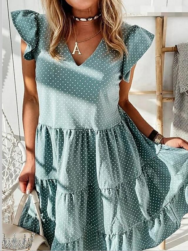 Women's A-Line Dress Maxi long Dress - Short Sleeves Polka Dot Summer Casual 2020 Blue Blushing Pink Green S M L XL XXL XXXL