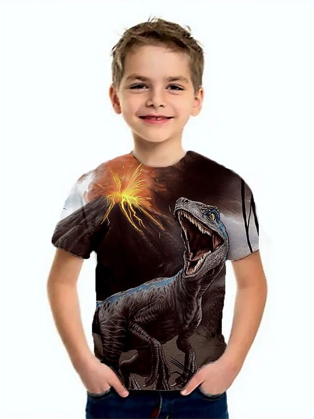 Kids Boys' Basic Dinosaur Animal Print Short Sleeve Tee Brown