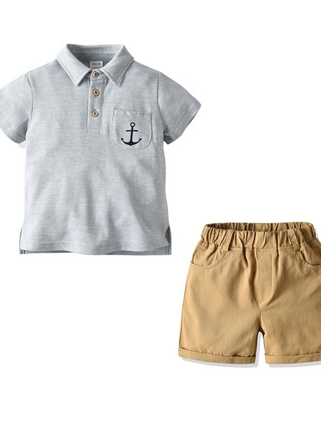 Kids Boys' Basic Solid Colored Short Sleeve Clothing Set Gray