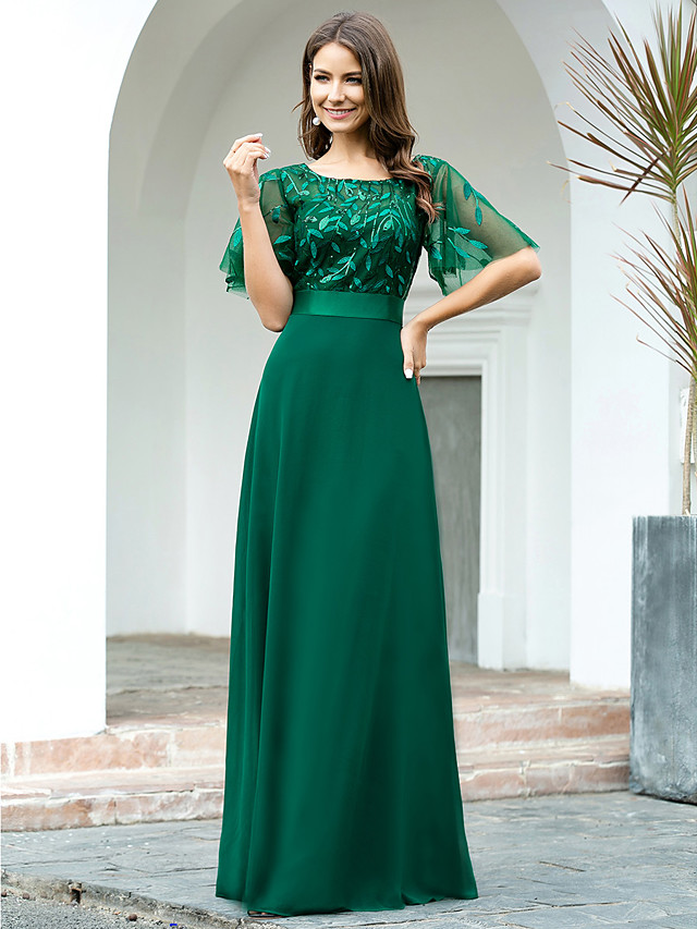 A-Line Empire Sparkle Wedding Guest Formal Evening Dress Jewel Neck Short Sleeve Floor Length Chiffon Sequined with Sequin 2020