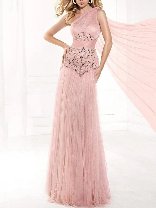 Sheath / Column Elegant Glittering Engagement Formal Evening Dress One Shoulder Sleeveless Floor Length Tulle with Pleats Beading 2020