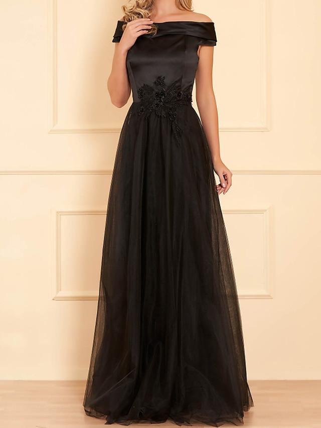 A-Line Elegant Floral Engagement Formal Evening Dress Off Shoulder Short Sleeve Floor Length Satin Tulle with Appliques 2020