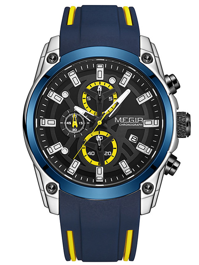 MEGIR Men's Sport Watch Quartz Stylish Fashion Water Resistant / Waterproof Silicone Black / Blue Analog - Black+Gloden Black Blue One Year Battery Life / Calendar / date / day / Chronograph