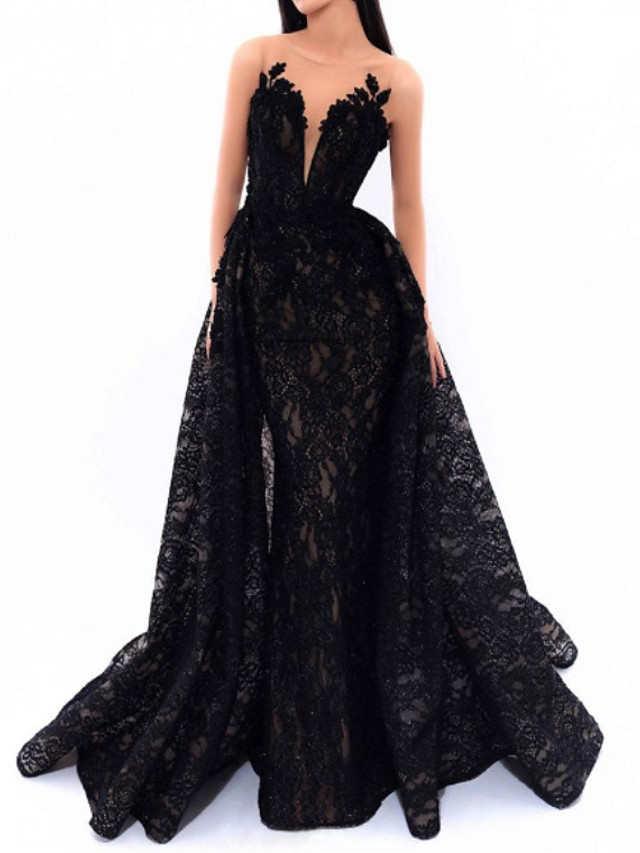 Mermaid / Trumpet Beautiful Back Sexy Engagement Formal Evening Dress Illusion Neck Sleeveless Detachable Lace with Appliques 2020