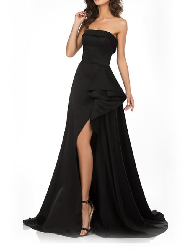 A-Line Elegant Peplum Engagement Prom Dress Strapless Sleeveless Court Train Satin with Split 2020