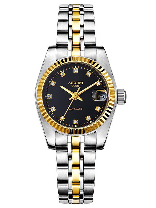 Women's Steel Band Watches Quartz Modern Style Stylish Elegant Water Resistant / Waterproof Stainless Steel Analog - White / Black Golden+Black White+Gold / Calendar / date / day