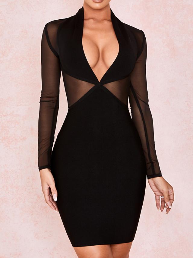 Back To School Sheath / Column Little Black Dress Sexy Homecoming Cocktail Party Dress V Neck Long Sleeve Short / Mini Spandex with Sleek 2020 Hoco Dress