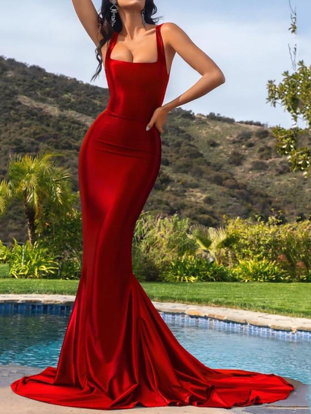 Mermaid / Trumpet Elegant Beautiful Back Engagement Formal Evening Dress Scoop Neck Sleeveless Court Train Stretch Satin with Sleek 2020