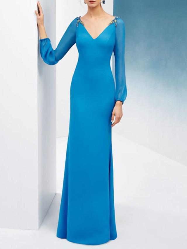 Mermaid / Trumpet Elegant Beautiful Back Engagement Formal Evening Dress V Neck Long Sleeve Floor Length Chiffon with Pleats Beading 2020