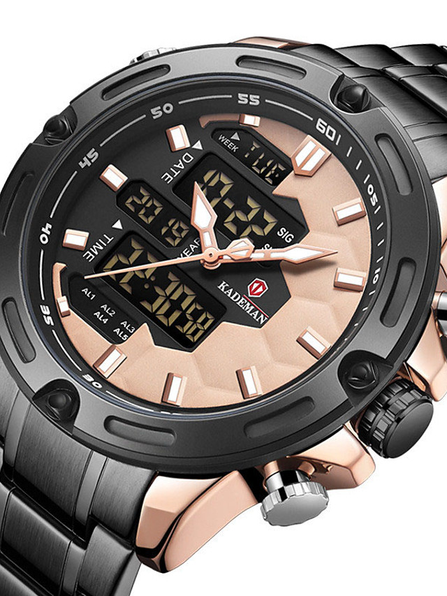 KADEMAN Men's Sport Watch Digital Modern Style Sporty Minimalist Water Resistant / Waterproof Stainless Steel Analog - Digital - Black+Gloden Black / Pink Blue / Calendar / date / day / Noctilucent