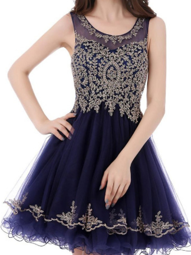 Back To School A-Line Flirty Sparkle Homecoming Cocktail Party Dress Jewel Neck Sleeveless Short / Mini Lace Tulle with Appliques 2020 Hoco Dress