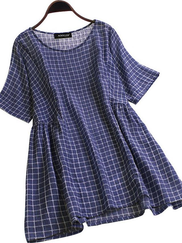 Women's Blouse Plaid Loose Tops Blue Gray Light Blue / Short Sleeve