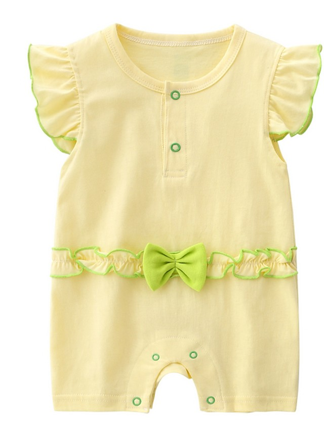 Baby Girls' Basic Solid Colored Short Sleeves Romper White