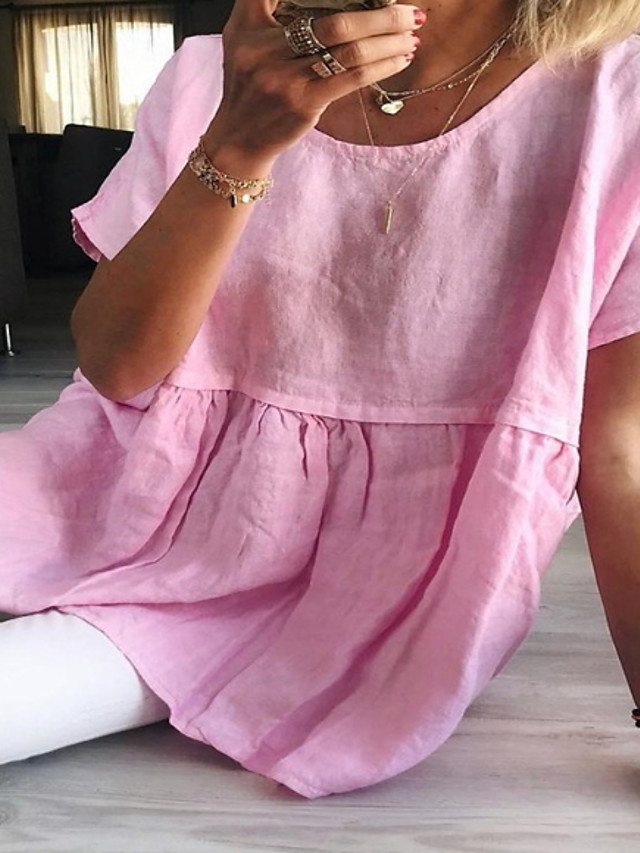 Women's Blouse Solid Colored Tops Yellow Blushing Pink Green / Short Sleeve