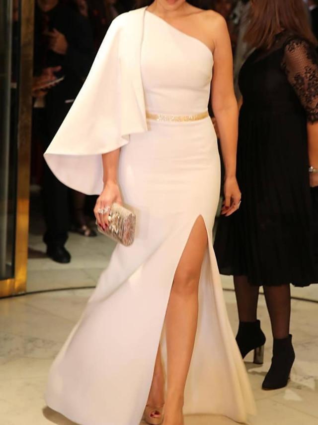 Sheath / Column Elegant Minimalist Engagement Prom Dress One Shoulder Long Sleeve Floor Length Satin with Split 2020