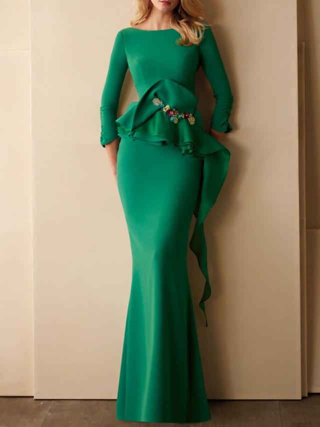 Mermaid / Trumpet Elegant Beautiful Back Wedding Guest Formal Evening Dress Jewel Neck 3/4 Length Sleeve Floor Length Chiffon Satin with Ruffles 2020