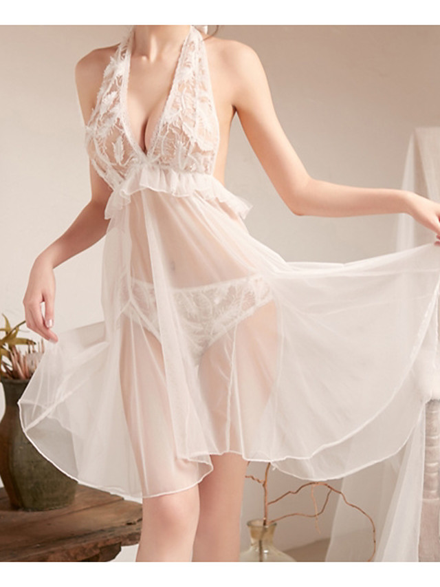 Women's Lace Backless Cut Out Suits Nightwear Jacquard Solid Colored White One-Size