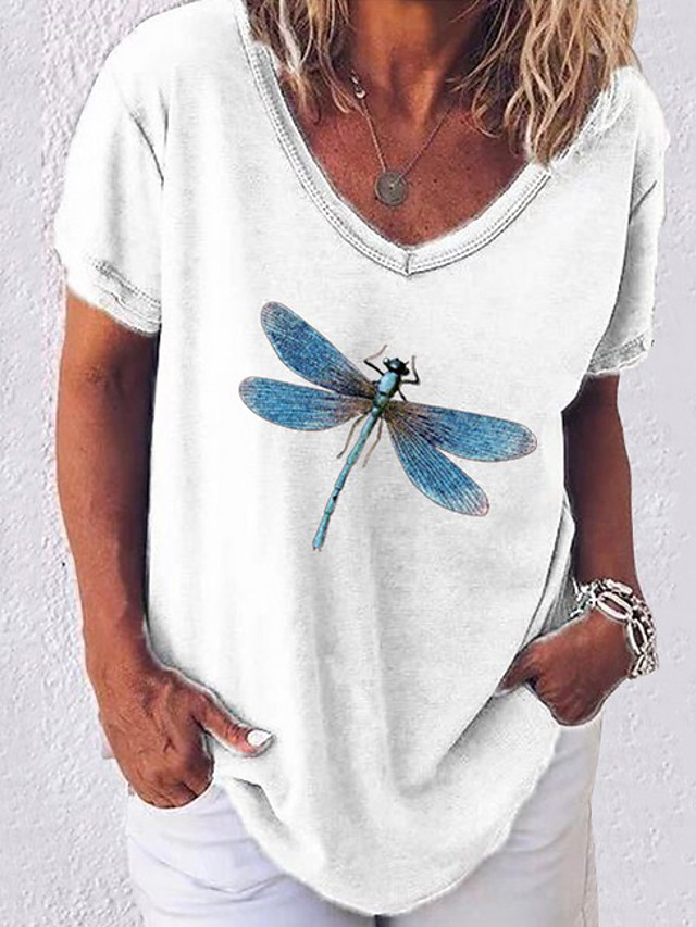Women's T-shirt Graphic V Neck Tops Loose Basic Top White Black Blue