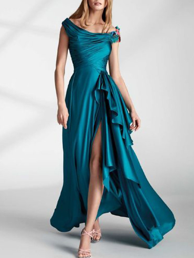 A-Line Floral Party Wear Formal Evening Dress Off Shoulder Short Sleeve Asymmetrical Charmeuse with Pleats Split Appliques 2020