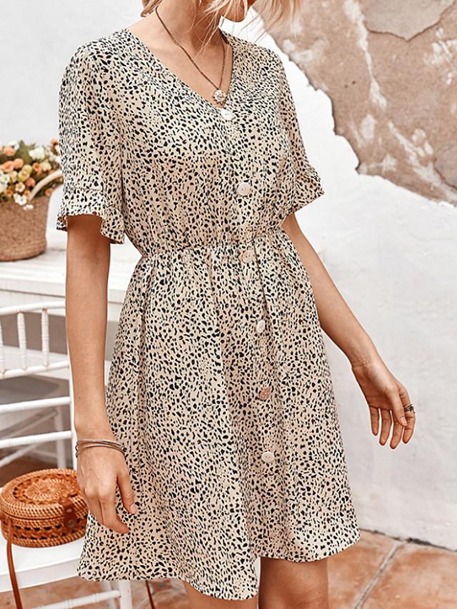 Women's A-Line Dress Knee Length Dress - Short Sleeves Floral Summer Casual Chinoiserie 2020 Light Brown Black Khaki S M L XL