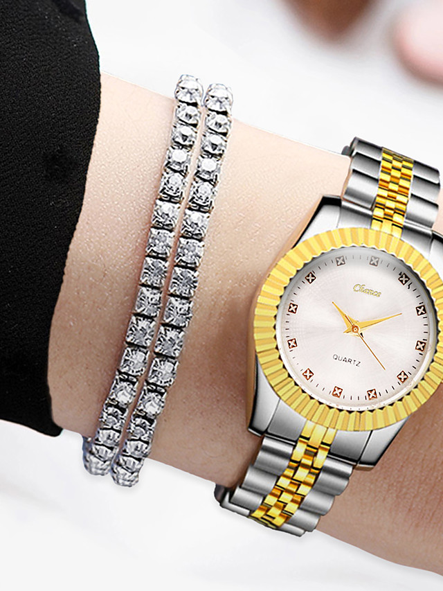 Women's Quartz Watches Quartz Modern Style Stylish Minimalist Casual Watch Gold Analog - White Black Gold One Year Battery Life / Imitation Diamond