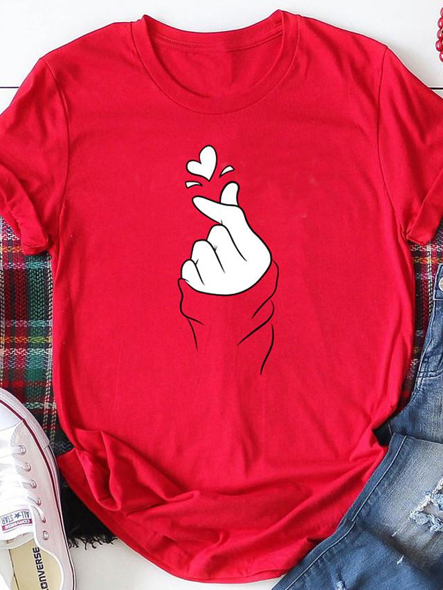 Damskie T-shirt Abstrakcja Serce Wzory graficzne Nadruk Okrągły dekolt Najfatalniejszy 100% bawełna Podstawowy Moda miejska Podstawowy top Czerwony Żółty Rumiany róż