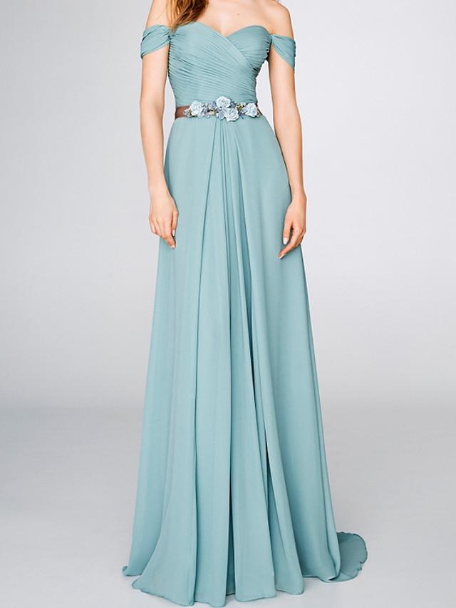 A-Line Elegant Floral Engagement Formal Evening Dress Off Shoulder Short Sleeve Sweep / Brush Train Chiffon with Sash / Ribbon Pleats 2020