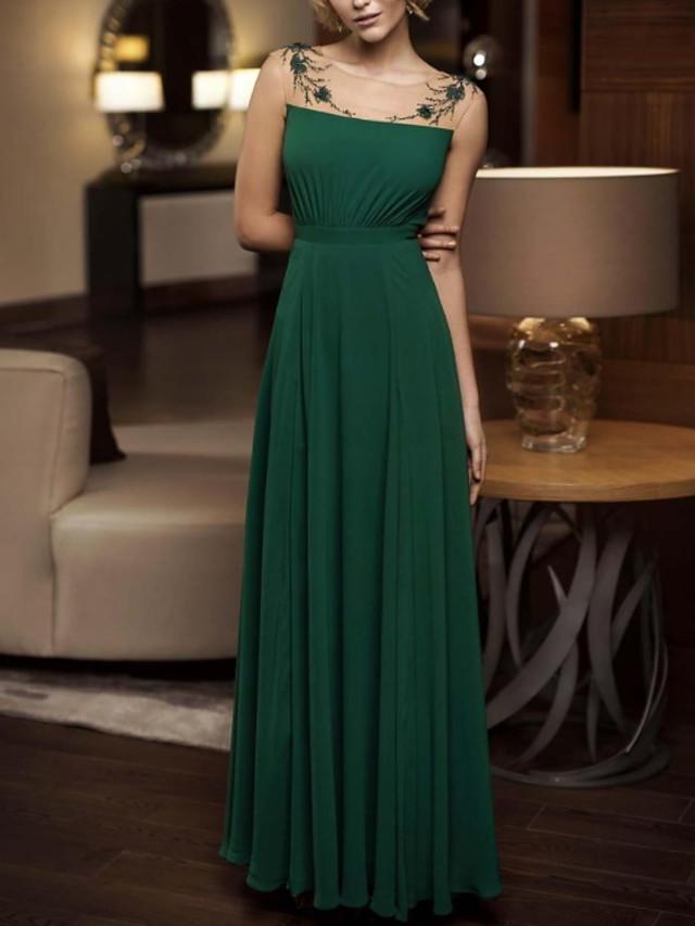 Sheath / Column Elegant Floral Wedding Guest Formal Evening Dress Illusion Neck Sleeveless Floor Length Chiffon with Pleats 2020