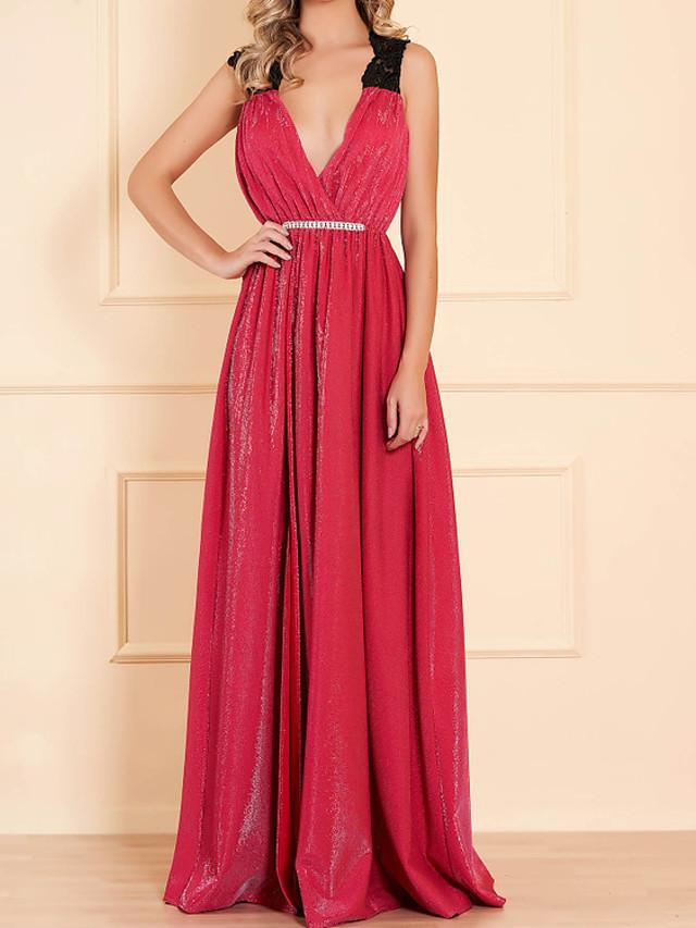 A-Line Sexy Sparkle Wedding Guest Formal Evening Dress V Neck Sleeveless Floor Length Nylon with Pleats Beading Split 2020