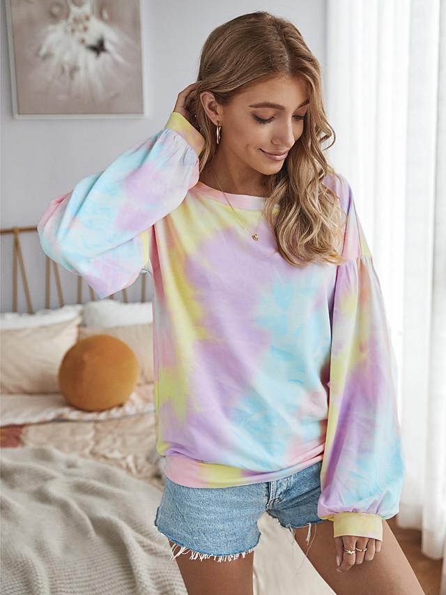 Women's Blouse Shirt Tie Dye Long Sleeve Round Neck Tops Loose Basic Top Yellow Blushing Pink Gray