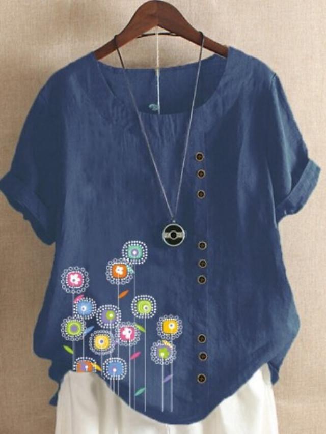 Women's T-shirt Graphic Round Neck Tops Loose Cotton Basic Top Blue Purple Wine