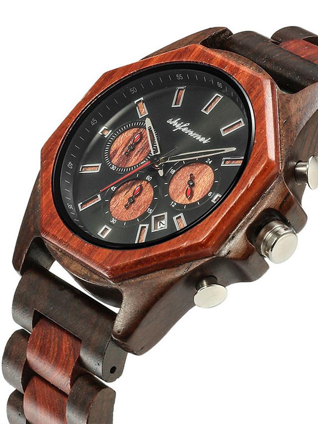 Men's Sport Watch Quartz Fashion Wooden Wood Analog - Brown Coffee / Japanese / Japanese
