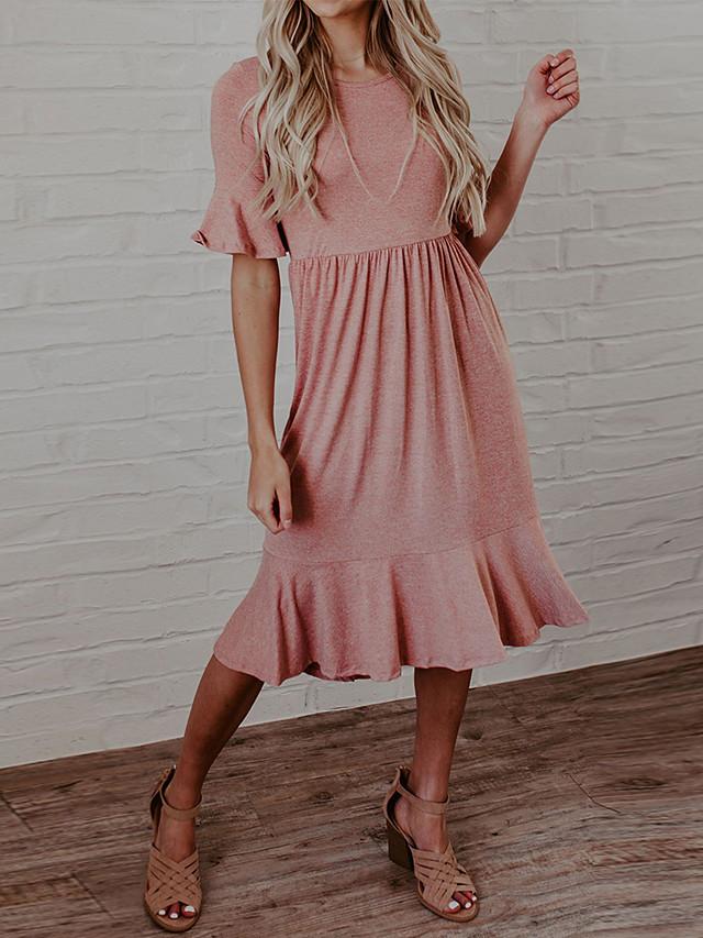 Γυναικεία Φόρεμα τρομπέτα / γοργόνα Μίντι φόρεμα - Μισό μανίκι Συμπαγές Χρώμα Καλοκαίρι Καθημερινό Flare μανίκι 2020 Ανθισμένο Ροζ Τ M L XL