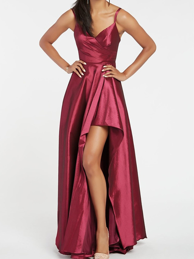 A-Line Elegant Beautiful Back Engagement Formal Evening Dress V Neck Sleeveless Asymmetrical Taffeta with Split 2020