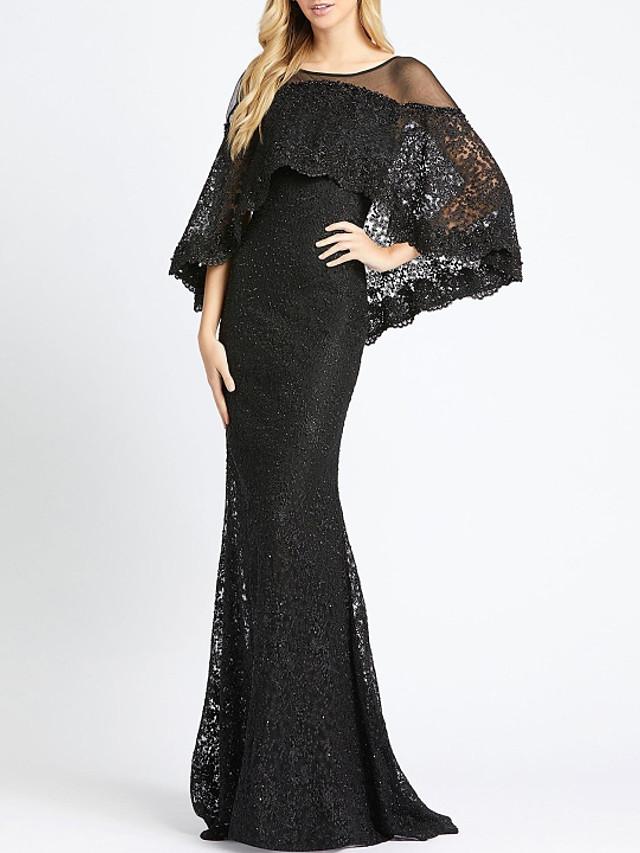 Mermaid / Trumpet Elegant Beautiful Back Engagement Formal Evening Dress Illusion Neck Long Sleeve Sweep / Brush Train Lace with Lace Insert 2020