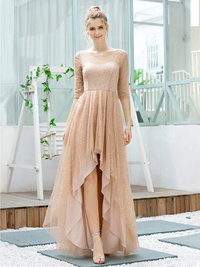 A-Line Glittering Minimalist Wedding Guest Cocktail Party Dress Jewel Neck Half Sleeve Asymmetrical Tulle with Sequin 2020