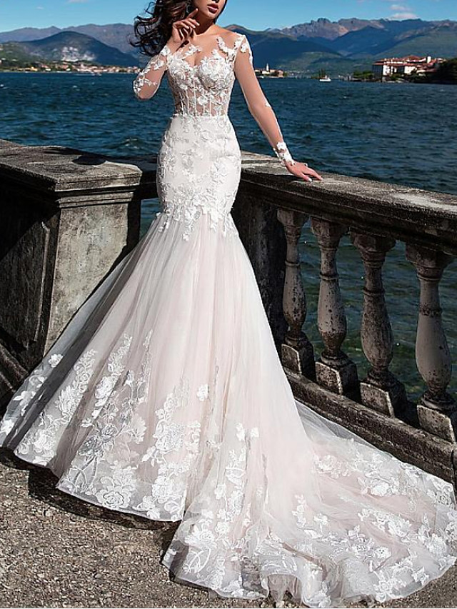 Mermaid / Trumpet Wedding Dresses Jewel Neck Court Train Lace Tulle Long Sleeve Formal See-Through with Embroidery Appliques 2020