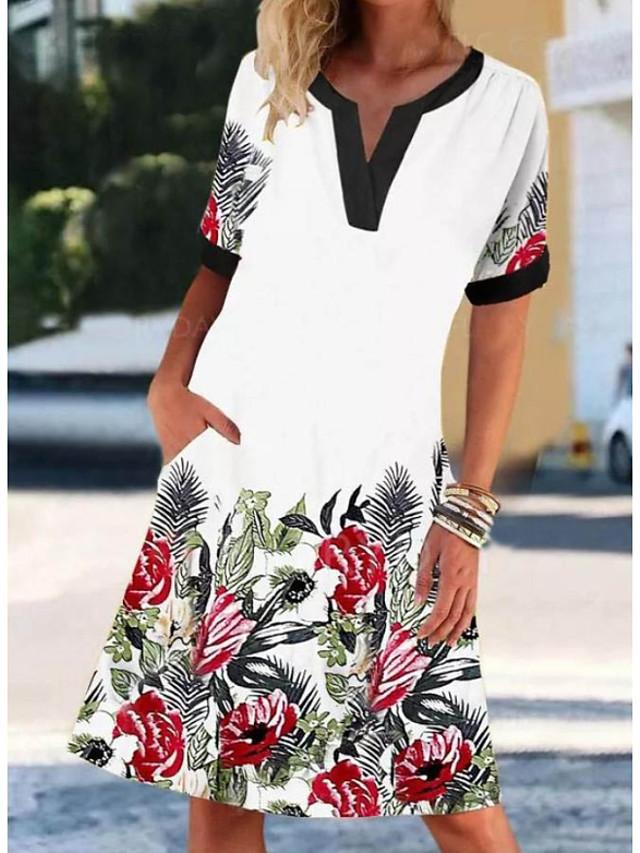 Women's Shift Dress Knee Length Dress - Short Sleeves Floral Print Summer V Neck Casual Daily 2020 White M L XL XXL XXXL