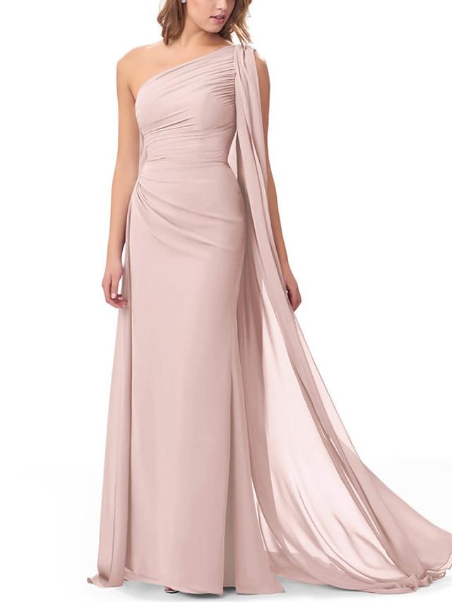 Sheath / Column One Shoulder Floor Length Chiffon Bridesmaid Dress with Ruffles