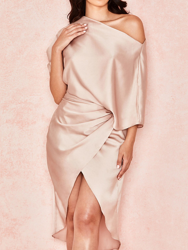 Sheath / Column Reformation Amante Minimalist Party Wear Cocktail Party Dress One Shoulder Half Sleeve Asymmetrical Charmeuse with Ruched Draping 2020