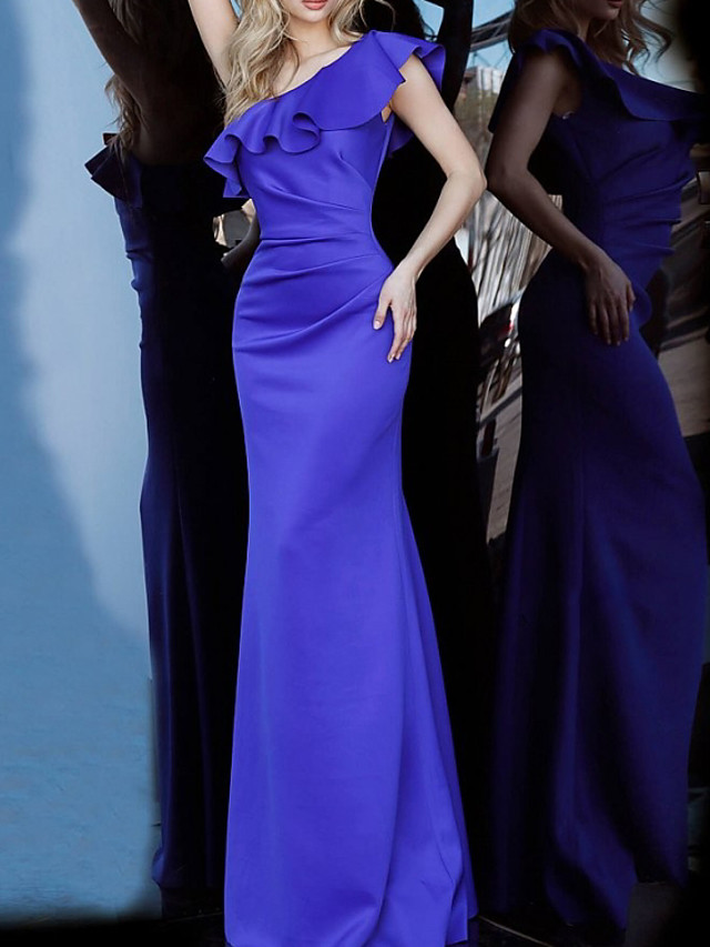 Mermaid / Trumpet Elegant Reformation Amante Engagement Formal Evening Dress One Shoulder Sleeveless Floor Length Satin with Sleek 2020
