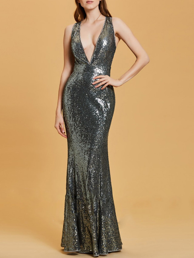Mermaid / Trumpet Sexy Sparkle Engagement Formal Evening Dress V Neck Sleeveless Floor Length Sequined with Criss Cross 2020